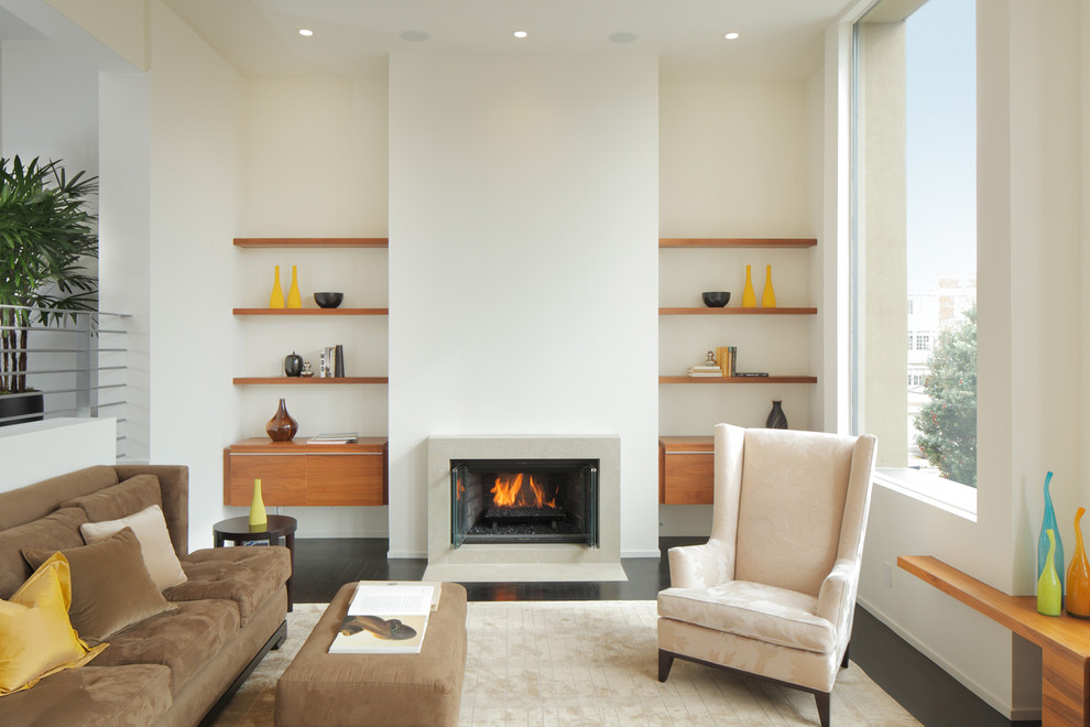 Inspiration for a mid-sized modern living room remodel in San Francisco with white walls and a standard fireplace