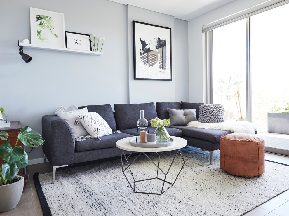 Inspiration for a small scandinavian enclosed living room remodel in Sydney with gray walls