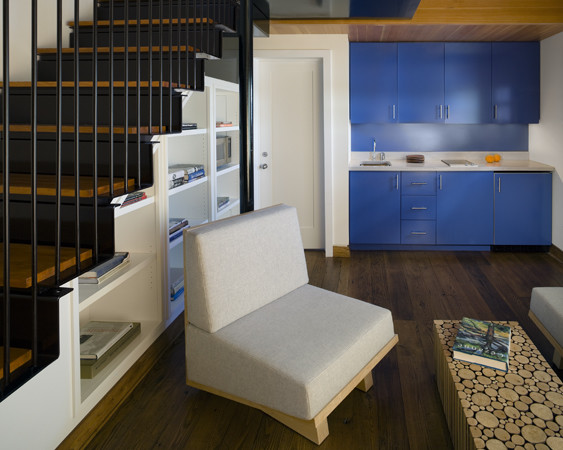Cottage Stair, Living, & Kitchenette contemporary-living-room