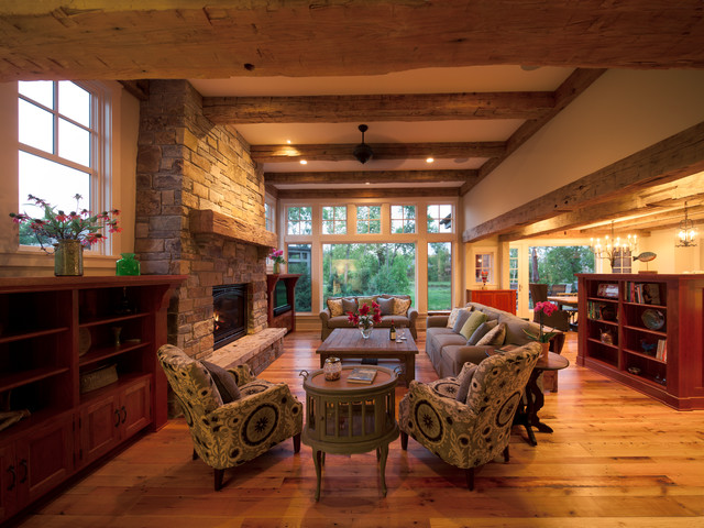Example Of A Mountain Style Open Concept Living Room Design In Minneapolis