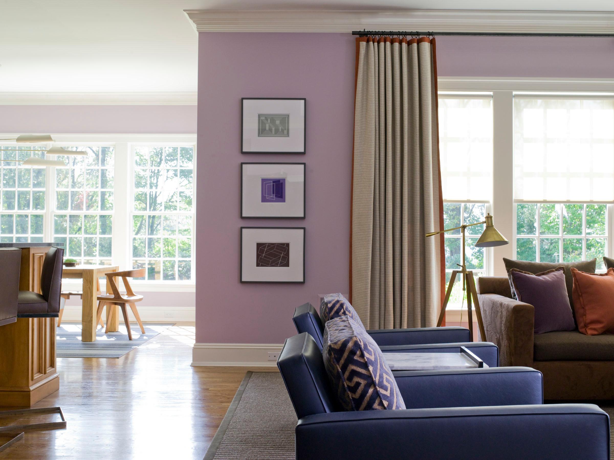 Beautiful Living Room With Purple Walls, Purple Living Room