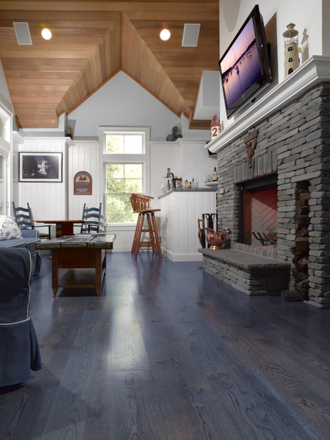 Transitional Living Room With Coastal Vibe And Blue: Country Grade White Oak Stained Blue For A Nautical Theme