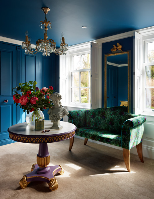 Medium sized eclectic formal enclosed living room in Cheshire with blue walls and carpet.
