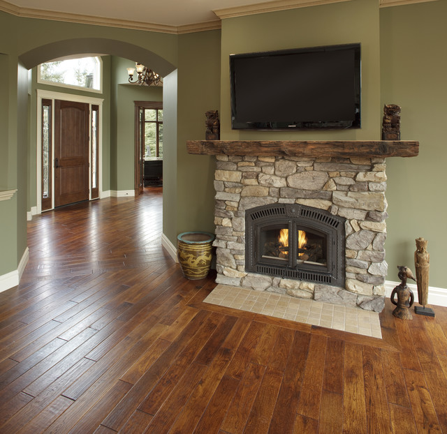 Country residence traditional living room calgary Benjamin moore country green