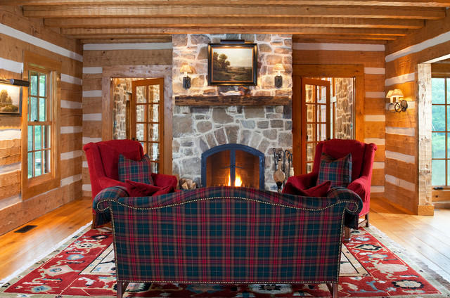 plaid living room furniture. Rustic medium tone wood floor living room idea in DC Metro with a standard  fireplace and Tartan Plaid Houzz