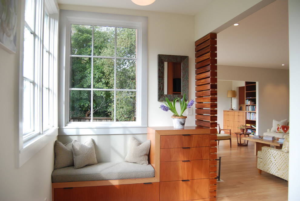 Inspiration for a small contemporary living room remodel in San Francisco with beige walls