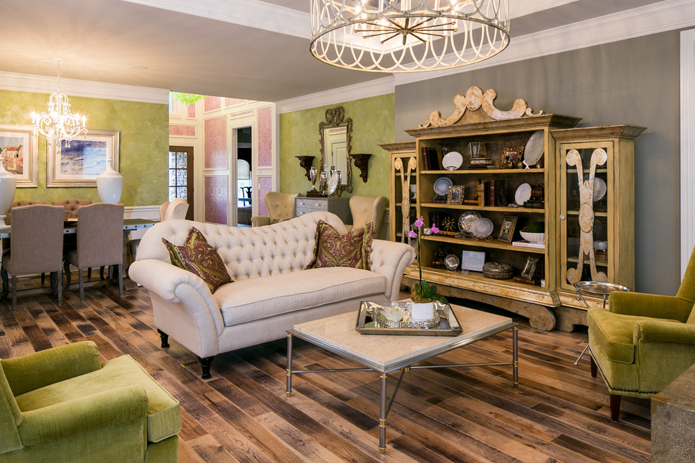 Example of a classic open concept living room design in Louisville with gray walls