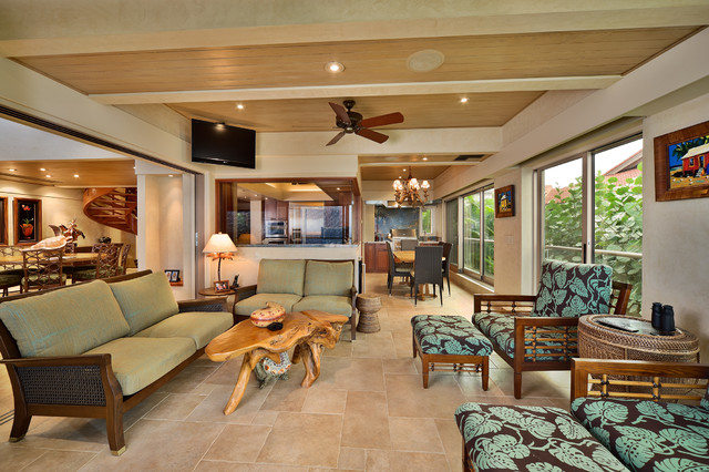 Covered lanai tropical living room other metro by for Lanai design