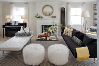 Eclectic Living Room Design By Other Metro Interior Designer Green Couch  Interior Design