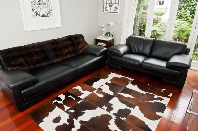 Cowhide Patchwork Rug Chocolate Brown And White Contemporary Living Room