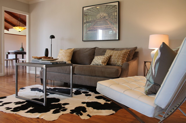 Cowhide Rug Barcelona Chair And Vintage Print Eclectic Living Room Los