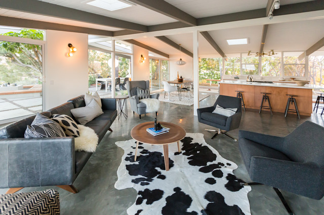 Cowhide Rug In Eichler Style Mid Century Home Midcentury