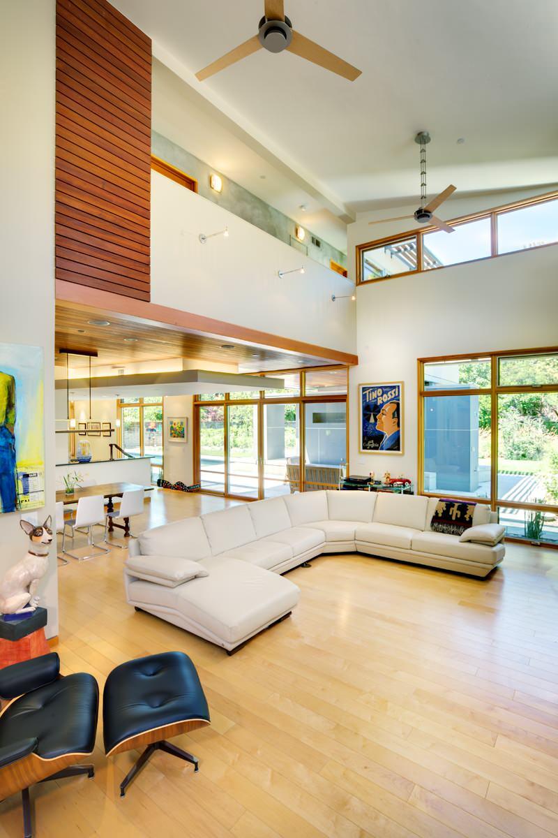 High Ceiling Modern Living Room Houzz