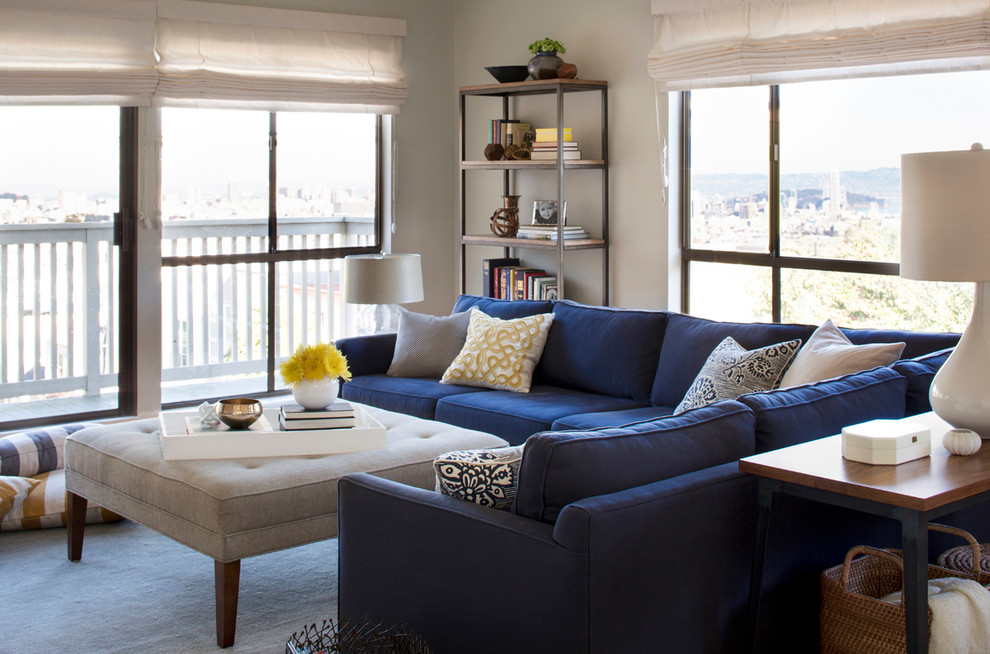 Inspiration for a mid-sized contemporary enclosed living room remodel in San Francisco with gray walls