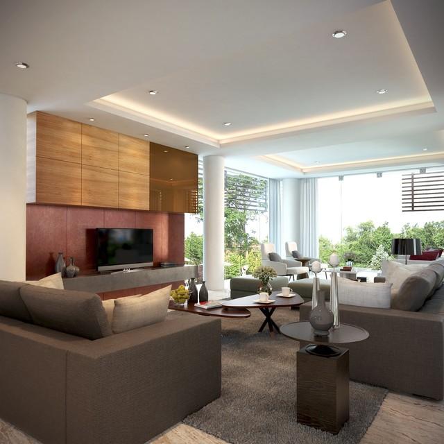 Home Garden Design Ideas Houzz Green Tropical House Small: Cozy Family Room Overlooking Tropical Garden