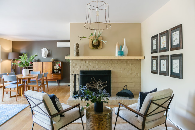 Cozy Fireplace Seating Midcentury Living Room San