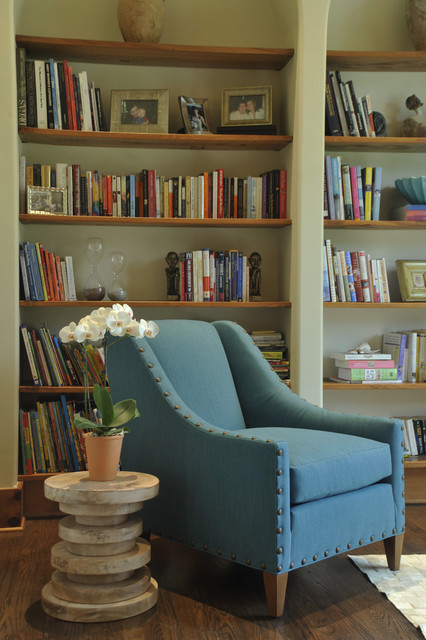 Cozy Library contemporary living room