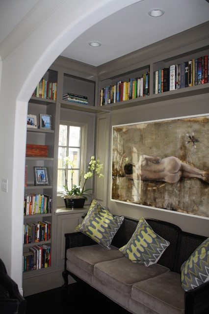 Cozy library nook! eclectic living room