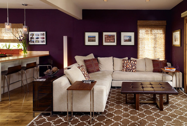 aubergine and grey living room cozy livingroom eclectic living room los angeles 20911