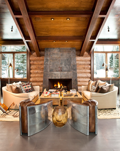 Modern Contemporary Log Cabin Living Room
