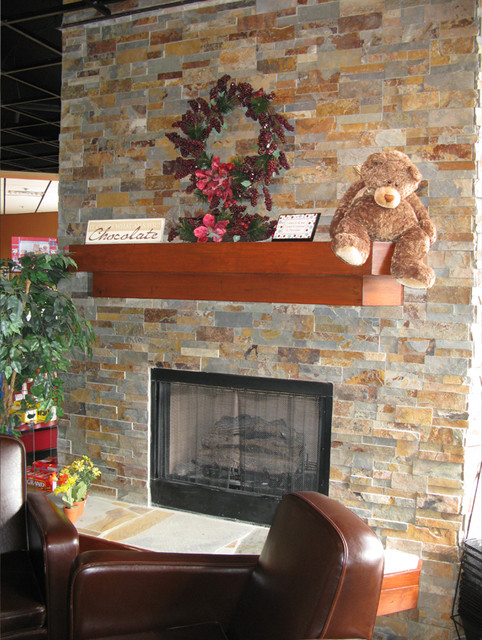 Cozy Natural Stone Fireplace Cabin traditional-living-room - Cozy Natural Stone Fireplace Cabin - Traditional - Living Room