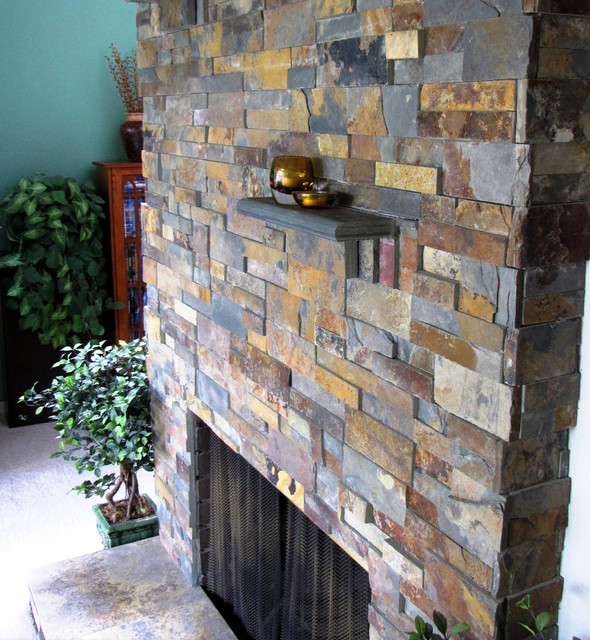 Cozy Split Stone Rustic Fireplace Cottage Traditional