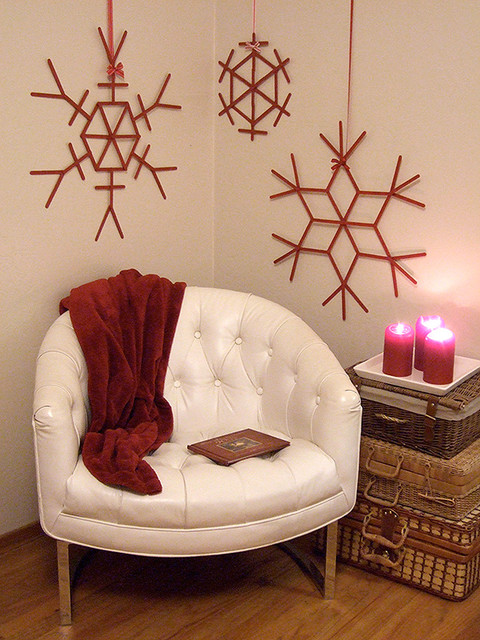 Craft stick snowflakes contemporary-living-room