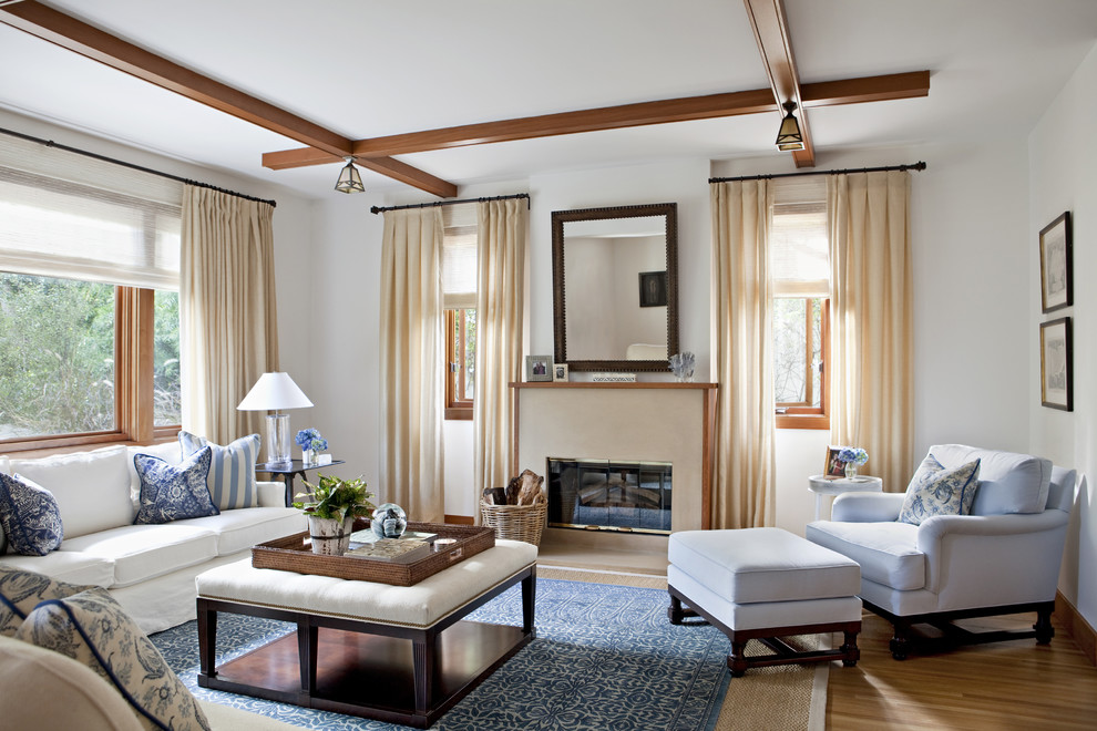 Living room - large transitional living room idea in Los Angeles with white walls and a standard fireplace