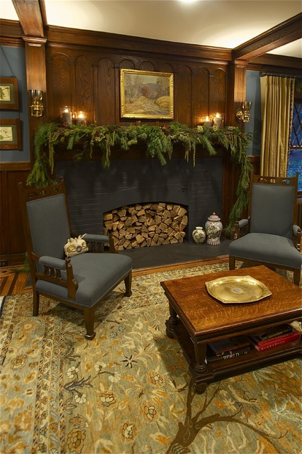 Craftsman Christmas traditional-living-room