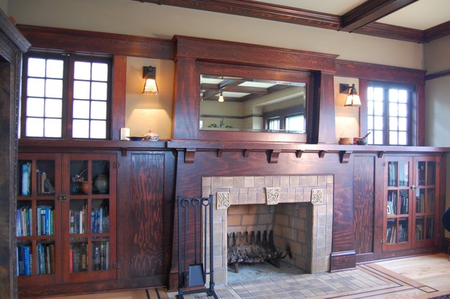 Craftsman Fireplace Living Room Portland