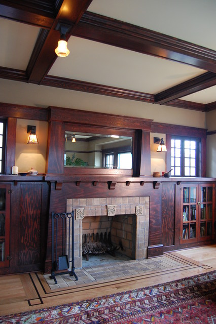 Craftsman fireplace craftsman living room portland by craftsman design and renovation for Craftsman living room decorating ideas