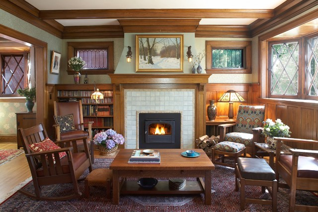 Craftsman fireplace craftsman living room for Craftsman fireplaces photos