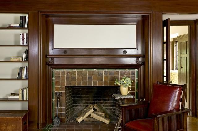 Craftsman Green Renovation traditional-living-room