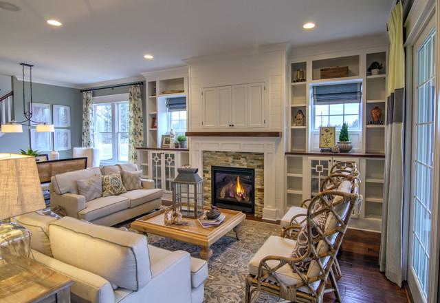 Hidden tv cabinet houzz example of a classic dark wood floor living room design in indianapolis with gray walls eventshaper