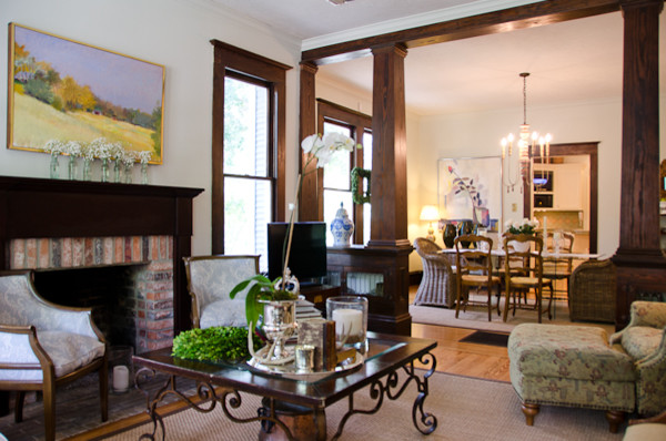 Craftsman style bungalow redesign craftsman living for Craftsman style interiors