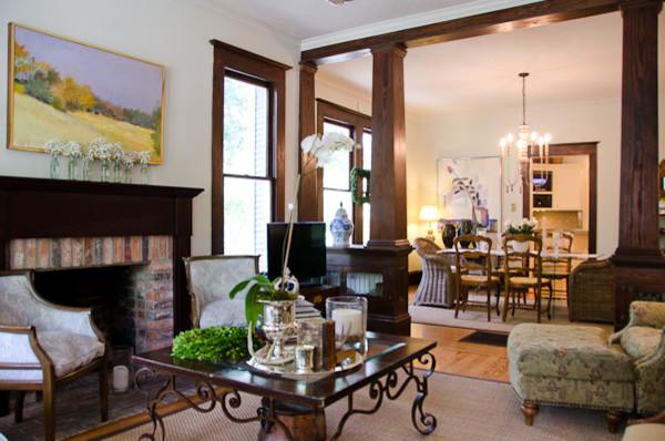 craftsman style bungalow redesign craftsman living room houston by jancy ervin interiors. Black Bedroom Furniture Sets. Home Design Ideas