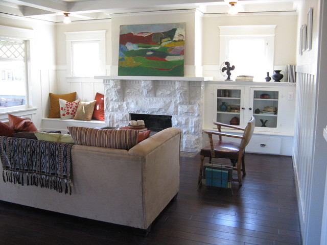 Craftsman With Abstract Mid Century Painting Eclectic Living Room