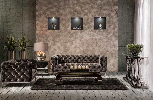 Charmant Crandon II Gray Sofa Contemporary Living Room