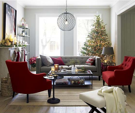 crate and barrel at the holidays transitional living room