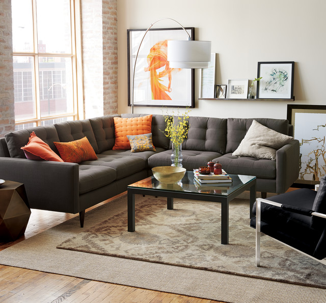 Crate and barrel living - Sofa gris como pintar las paredes ...