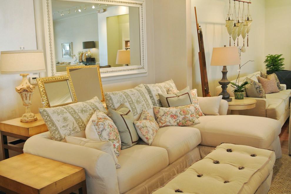 Cream Chaise Sectional Farmhouse Living Room Los Angeles By Quatrine Custom Furniture