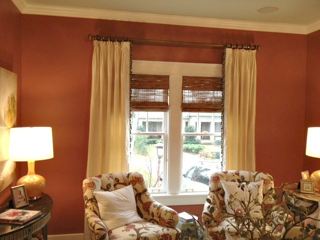 Cream Silk Curtain Panels With Trim Down Leading Edge