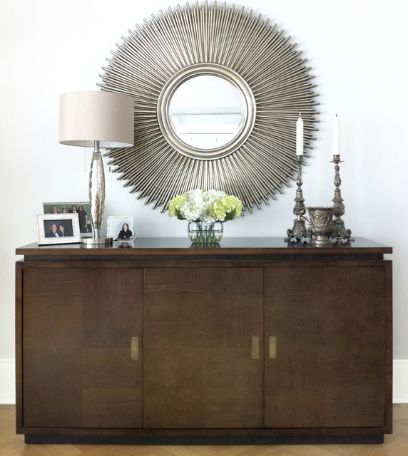 credenza mirror modern living room new york by david schaf interiors llc
