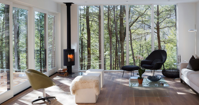 Design ideas for a mid-sized contemporary living room in New York with white walls, dark hardwood floors and a wood stove.