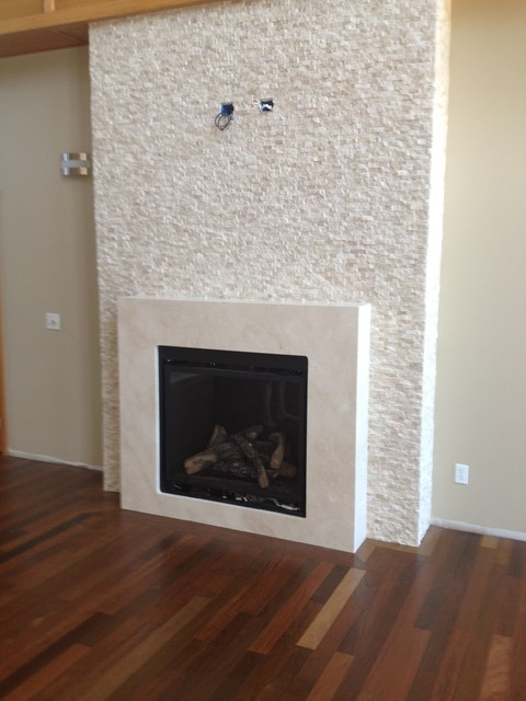 Crema Marfil Fireplace Surround Contemporary Living Room New York By Tz Granite