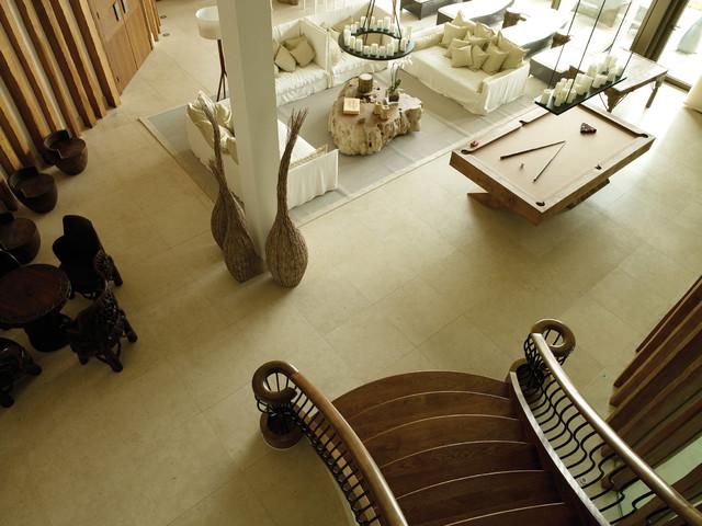 Crema Marfil Marble Floor Tiles Modern Living Room