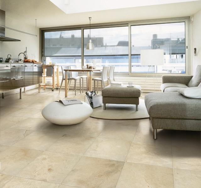 crema marfil marble flooring contemporary living room