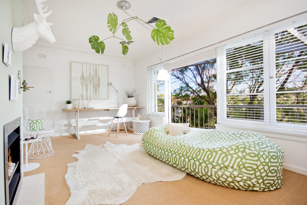 Living room - contemporary enclosed carpeted living room idea in Los Angeles with white walls