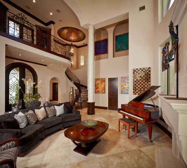 Crimson Interiors Contemporary Living Room Houston