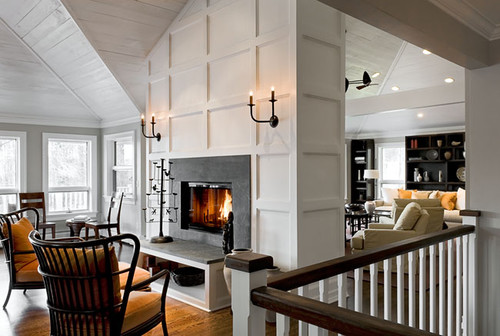 In love with this stunning fireplace! Sconces?
